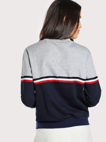 Striped Woven Tape Detail Two Tone Sweatshirt