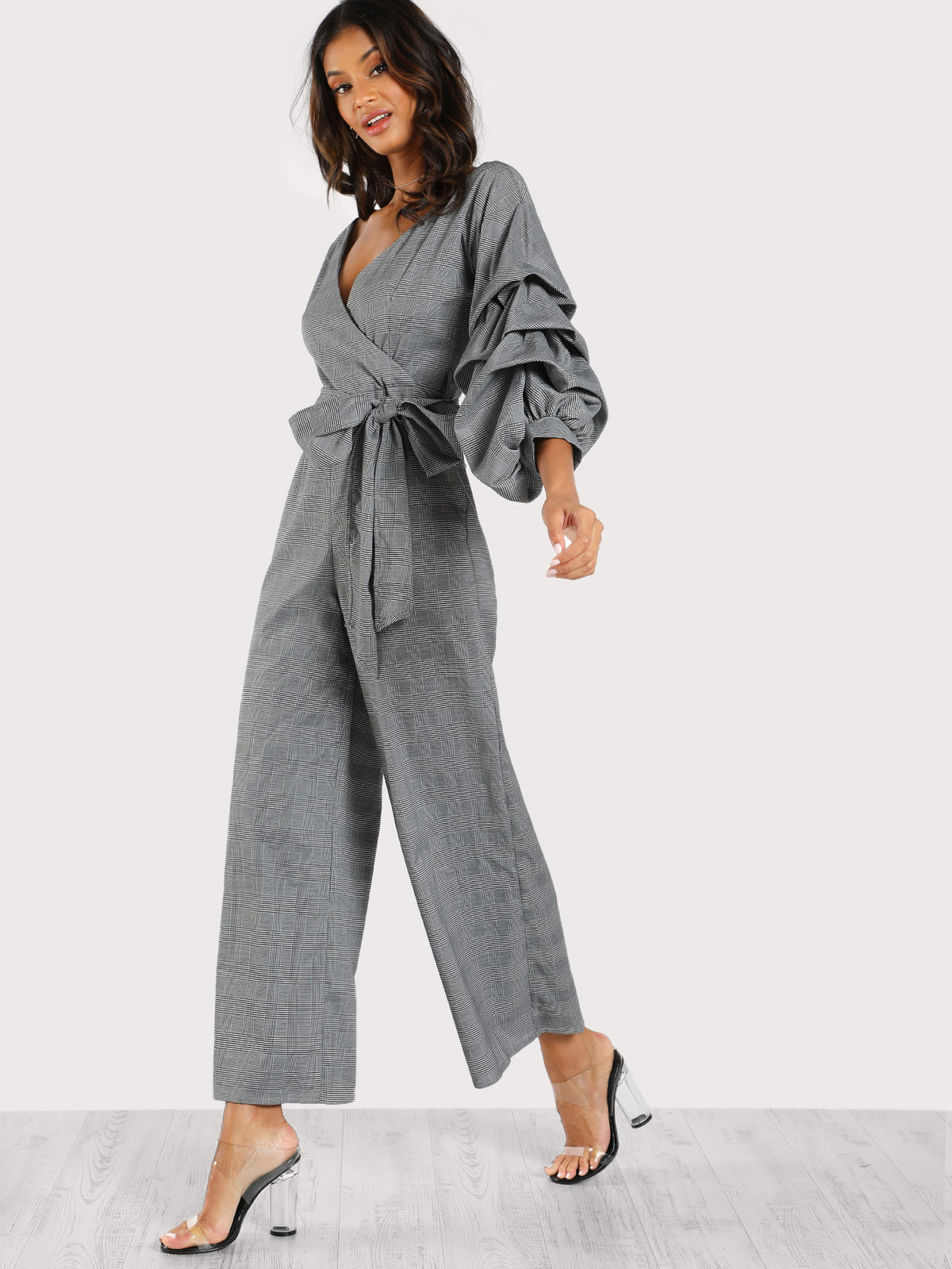 Gathered Sleeve Surplice Wrap Plaid Jumpsuit