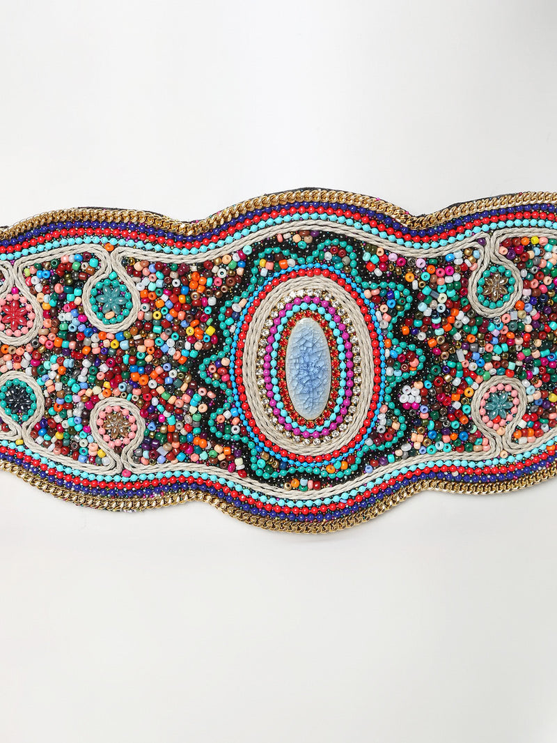 Beaded Design Elastic Belt