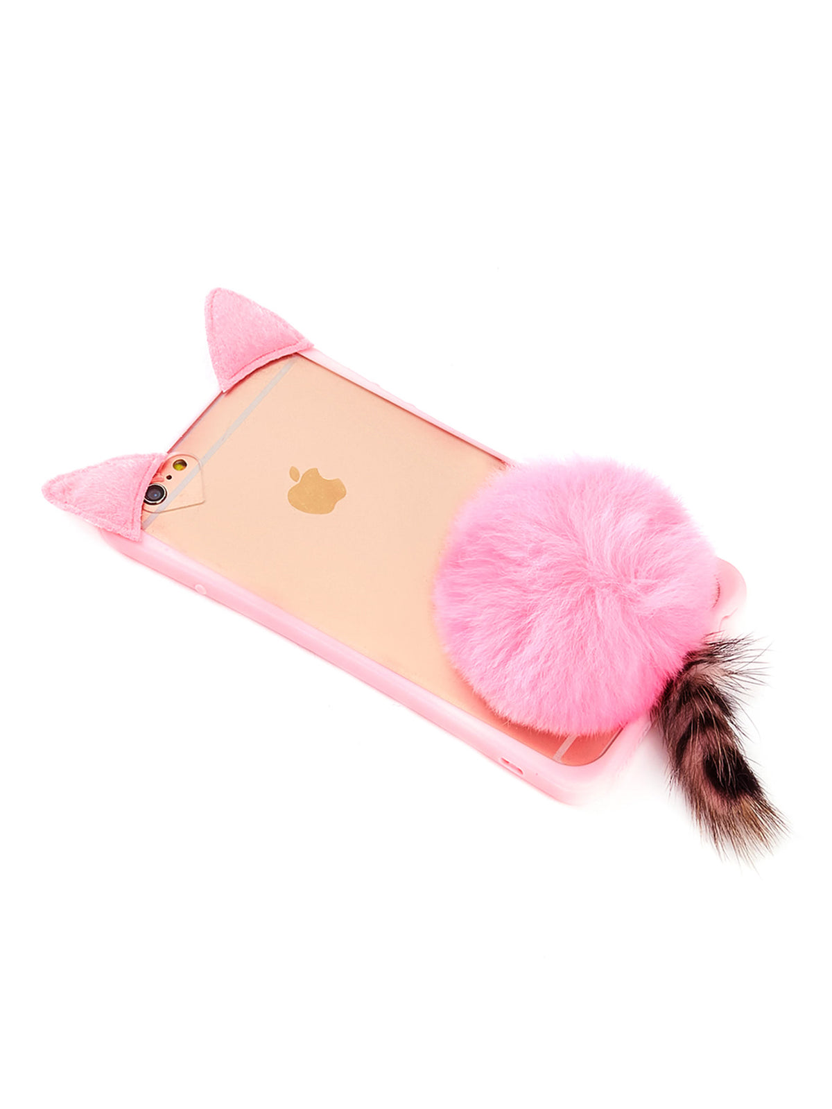Cat Design iPhone Case With Pom Pom