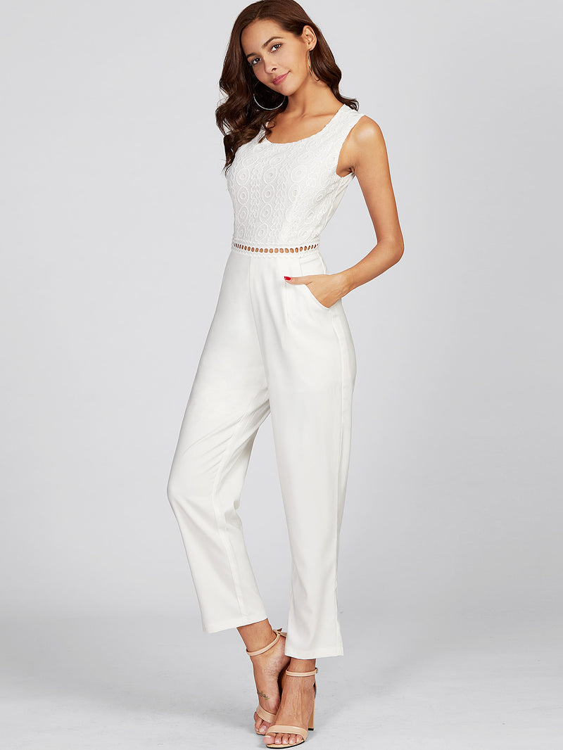 Guipure Lace Overlay Eyelet Waist Tailored Jumpsuit