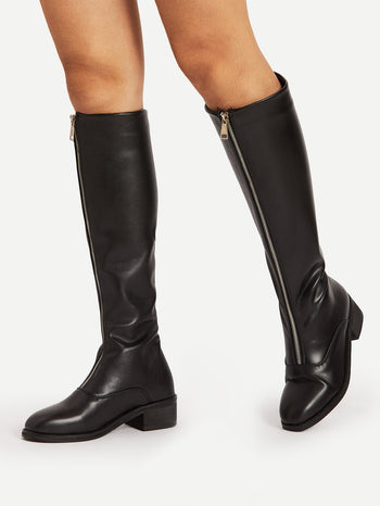 Zipper Front Knee High PU Boots
