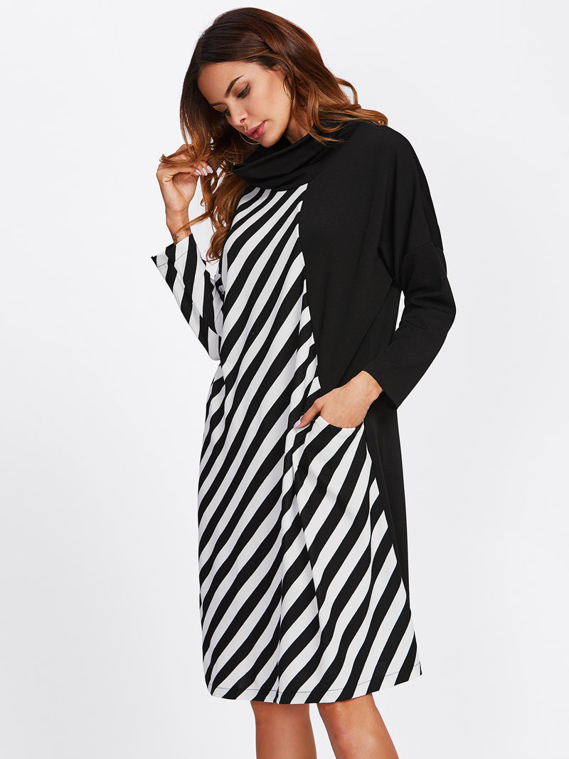High Neck Contrast Striped Shift Dress