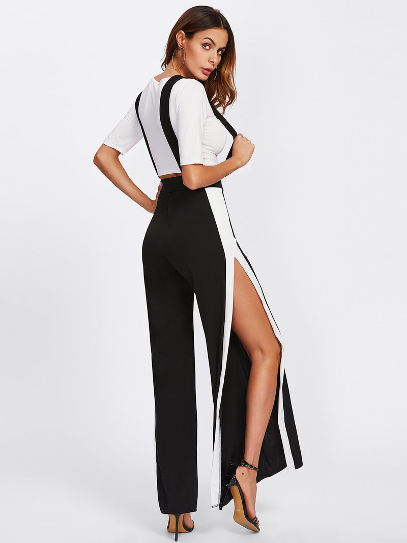 Crop Tee With Side Split Jumpsuit