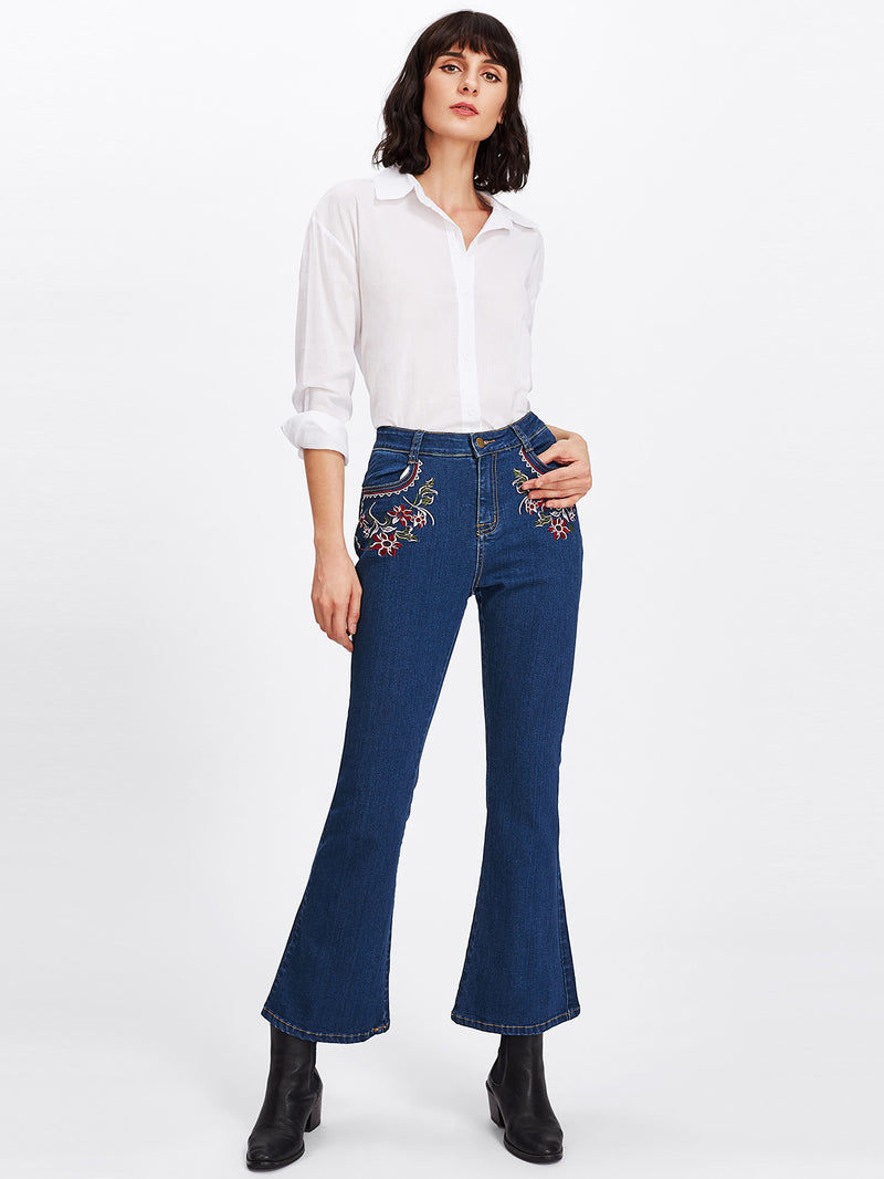 Botanical Embroidery Flare Hem Jeans