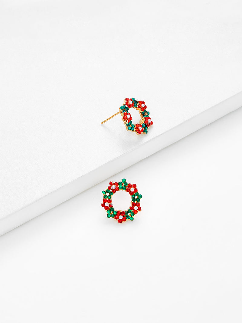 Christmas Rhinestone Flower Design Drop Earrings