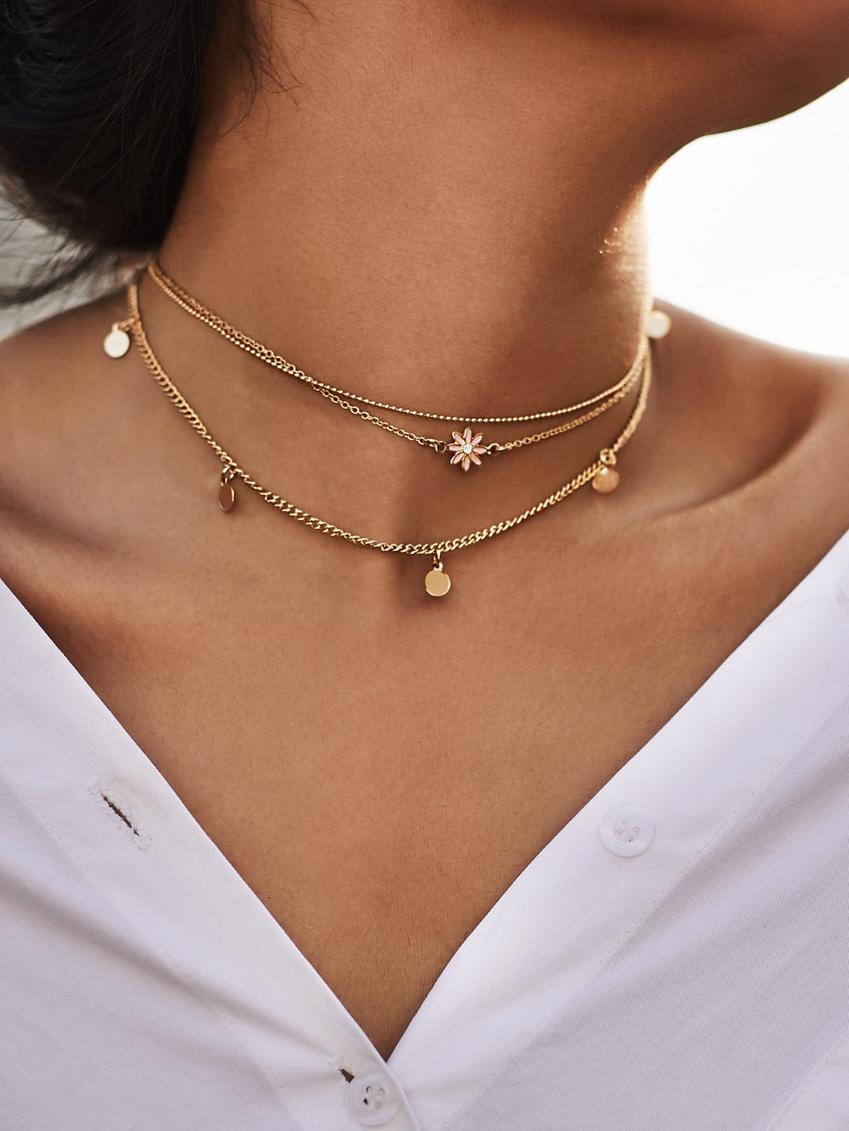 Star & Sequin Detail Chain Choker