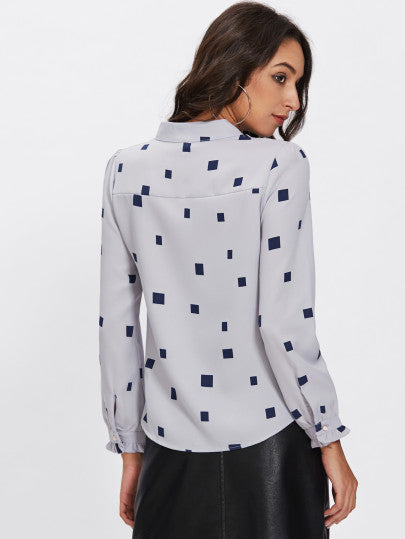 Square Print Bow Tie Neck Blouse