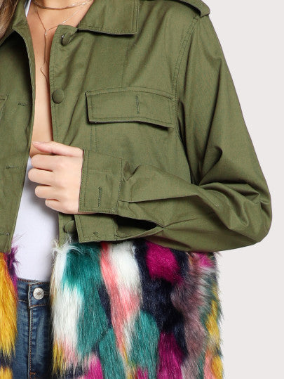 Colorful Faux Fur Trim Utility Jacket