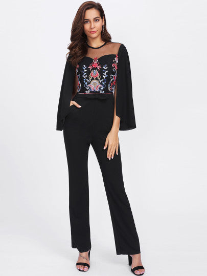 Cape Sleeve Mesh Insert Embroidered Tailored Jumpsuit