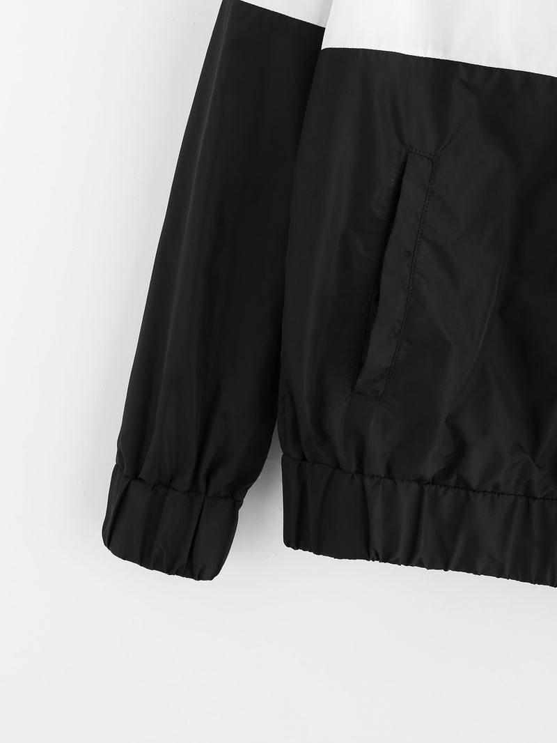 Cut And Sew Hoodie Windbreaker Jacket