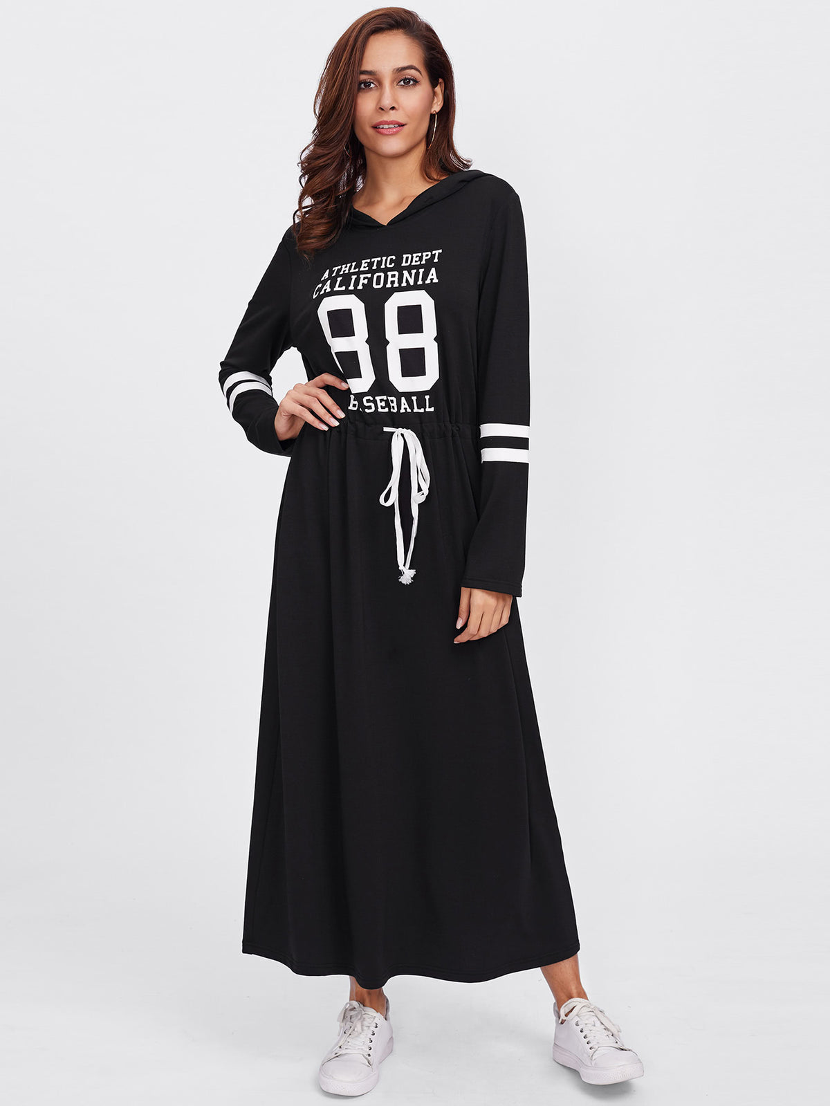 Drawstring Waist Varsity Hoodie Dress
