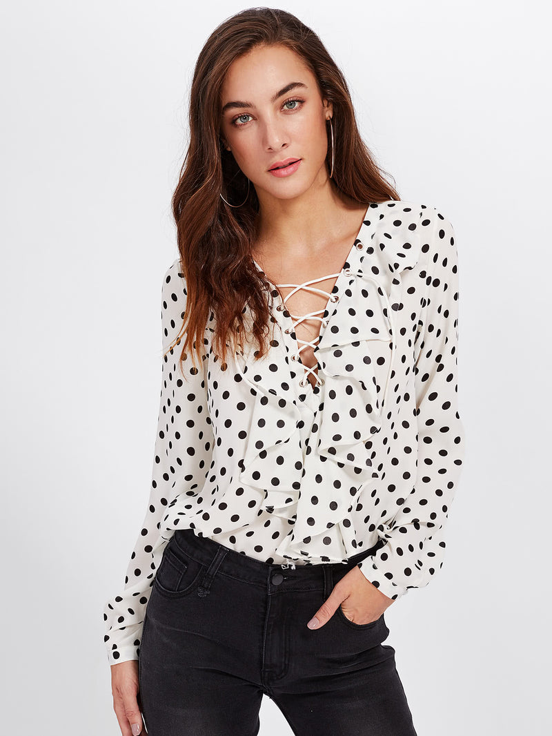 Polka Dot Lace Up Ruffle Blouse