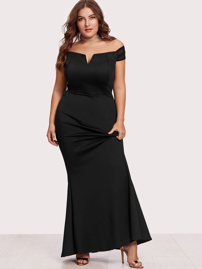 Off Shoulder Zip Back Maxi Dress