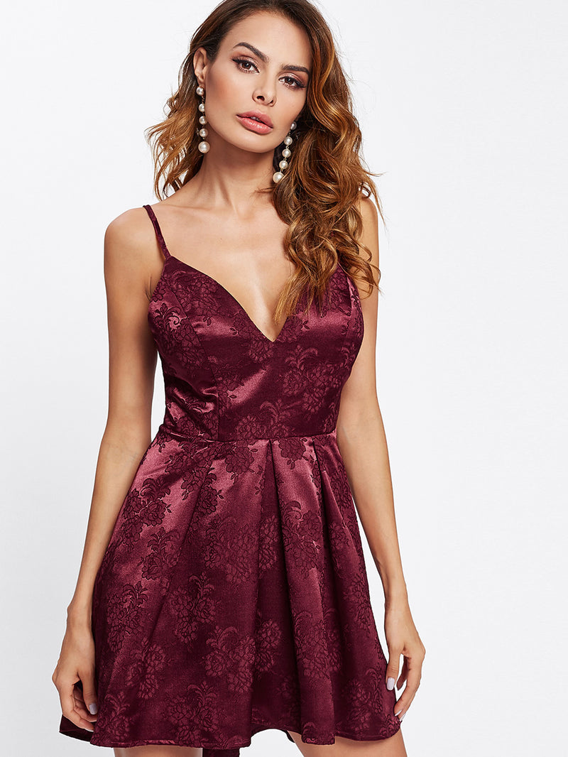Box Pleated Floral Jacquard Satin Cami Dress