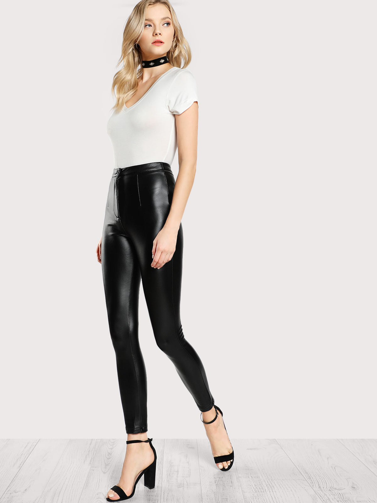 High Rise Coated Skinny Pants