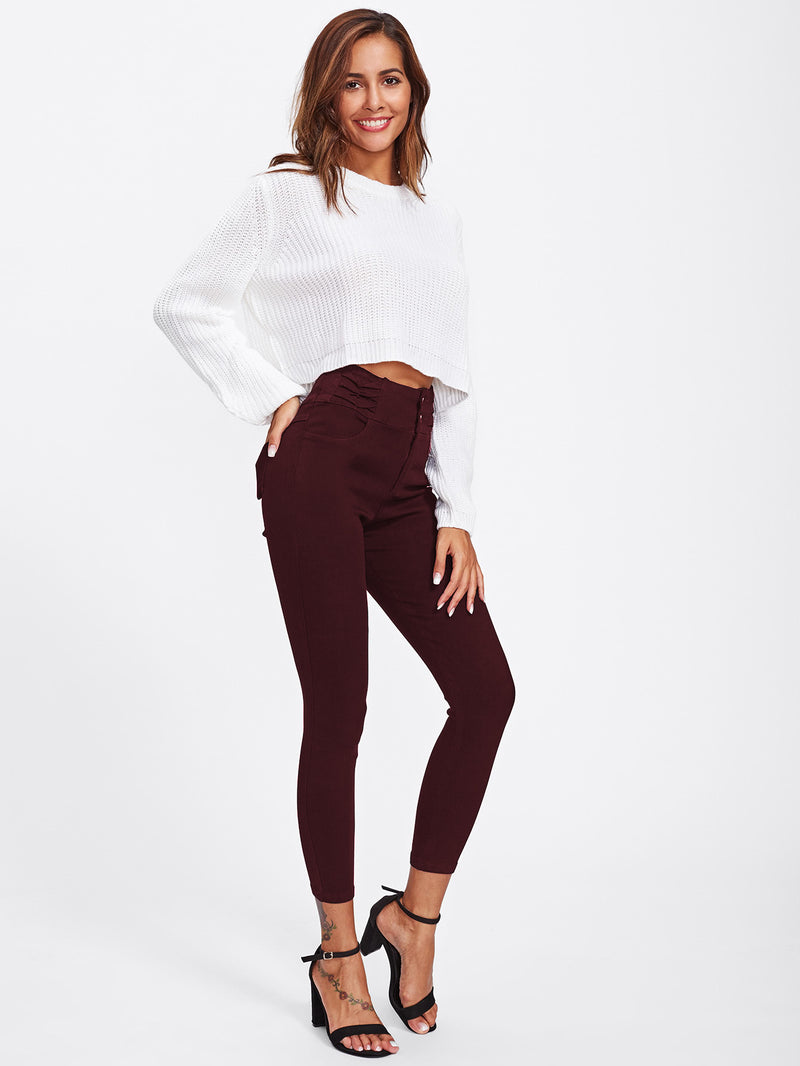 Ruched Waist Skinny Pants