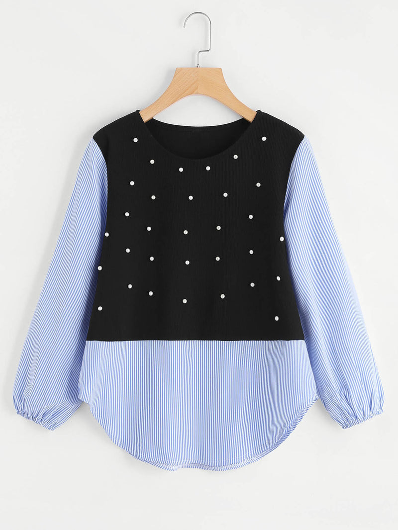 Contrast Striped Pearl Beaded Sweatshirt