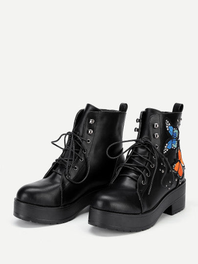 Butterfly Embroidery Lace Up Ankle Boots