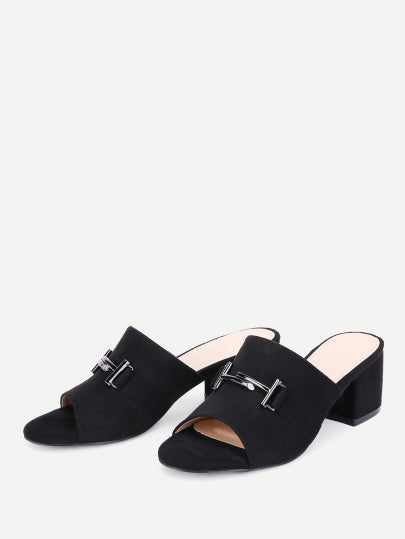Metal Detail Block Heeled Mules