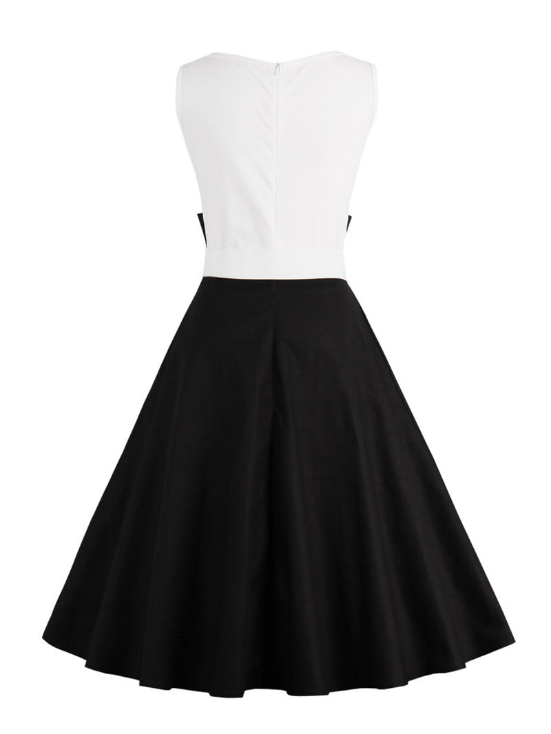 Color Block Flare Dress With Belt