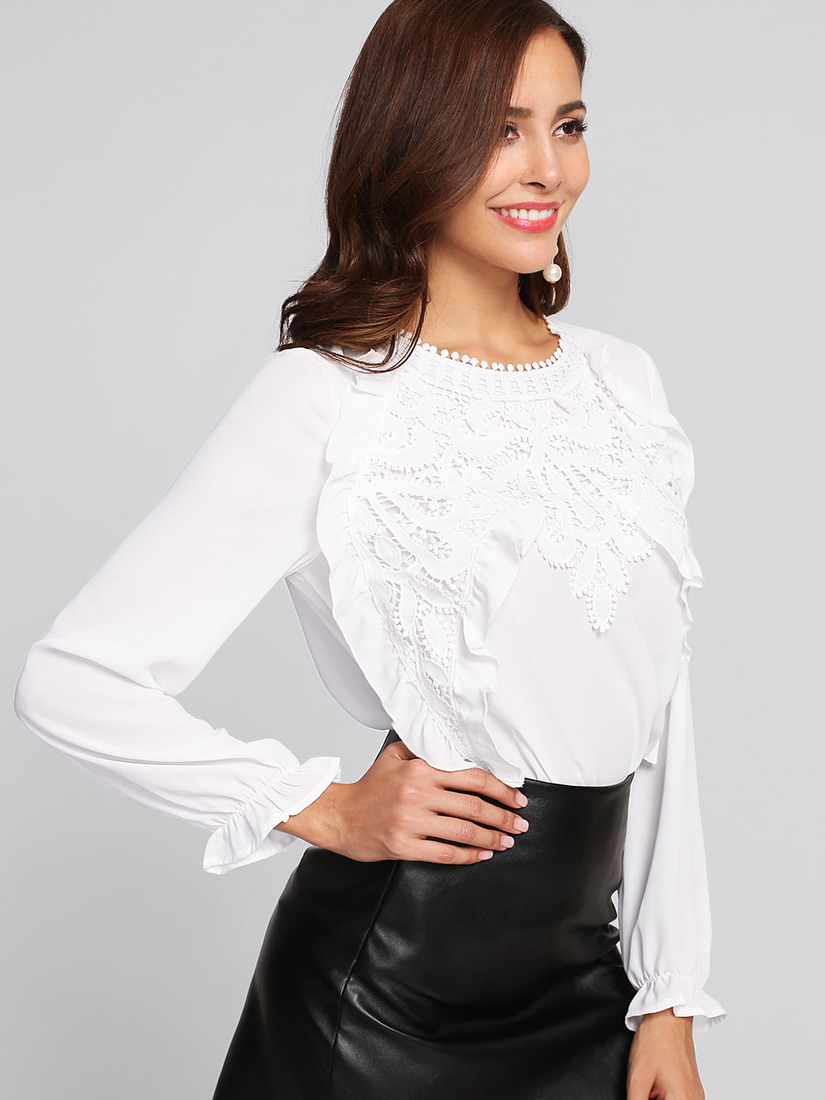 Applique Front Frilled Cuff Blouse