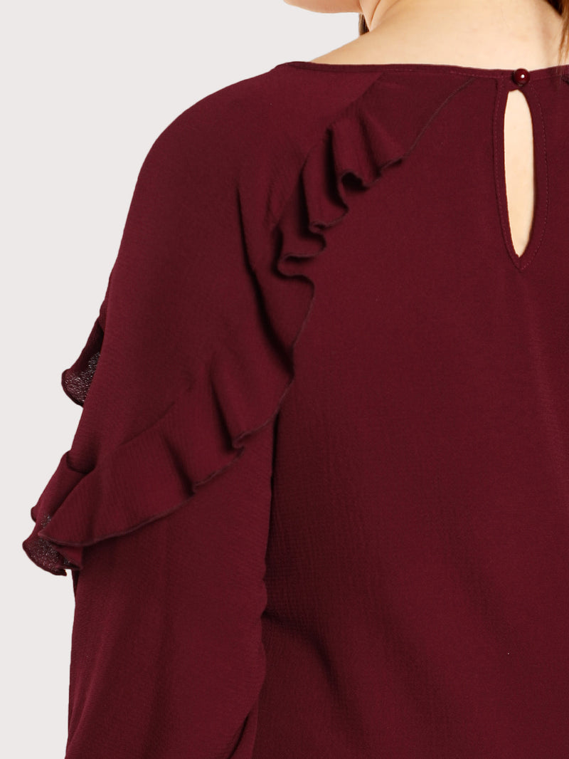 Ruffle Accent Keyhole Neck Top