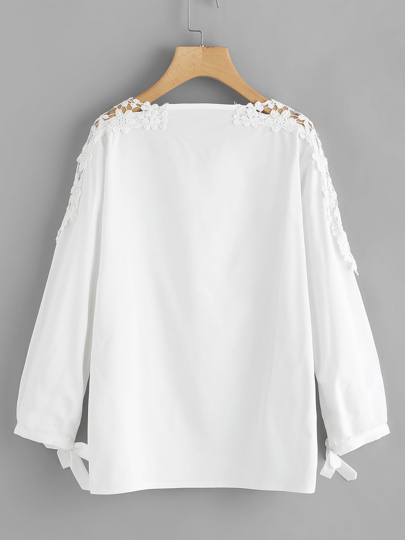 Tie Cuff Hollow Lace Panel Blouse