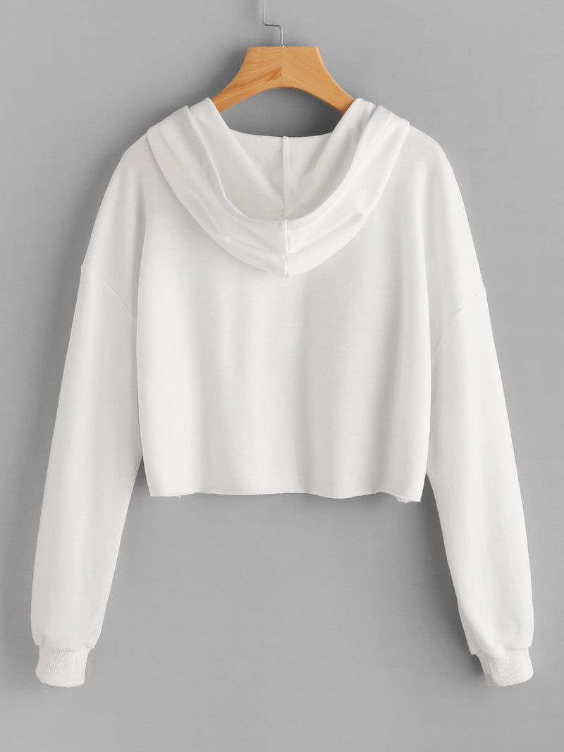 Drop Shoulder Raw Hem Crop Hoodie