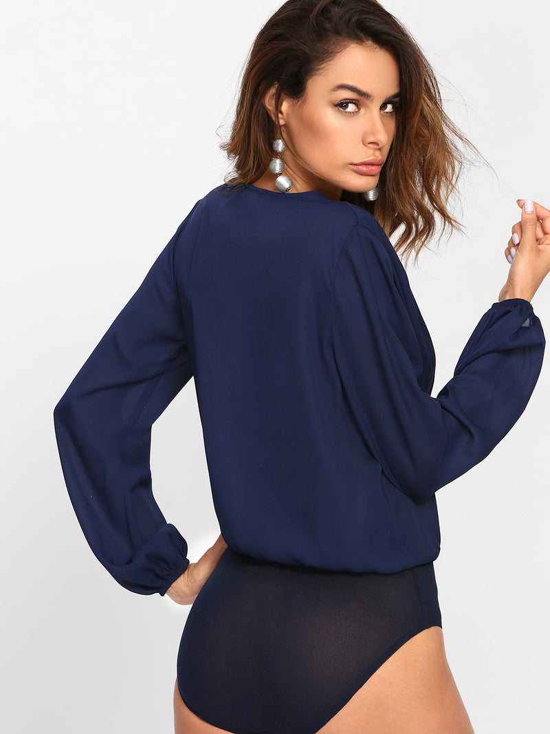 Bishop Sleeve Pleated Wrap Front Blouse Bodysuit