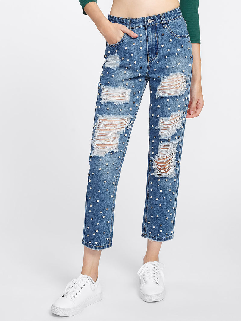 Pearl Beading Distressed Jeans