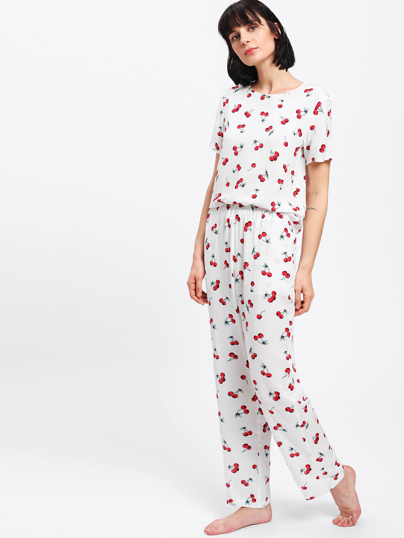 Allover Cherry Print Tee & Pants Pj Set