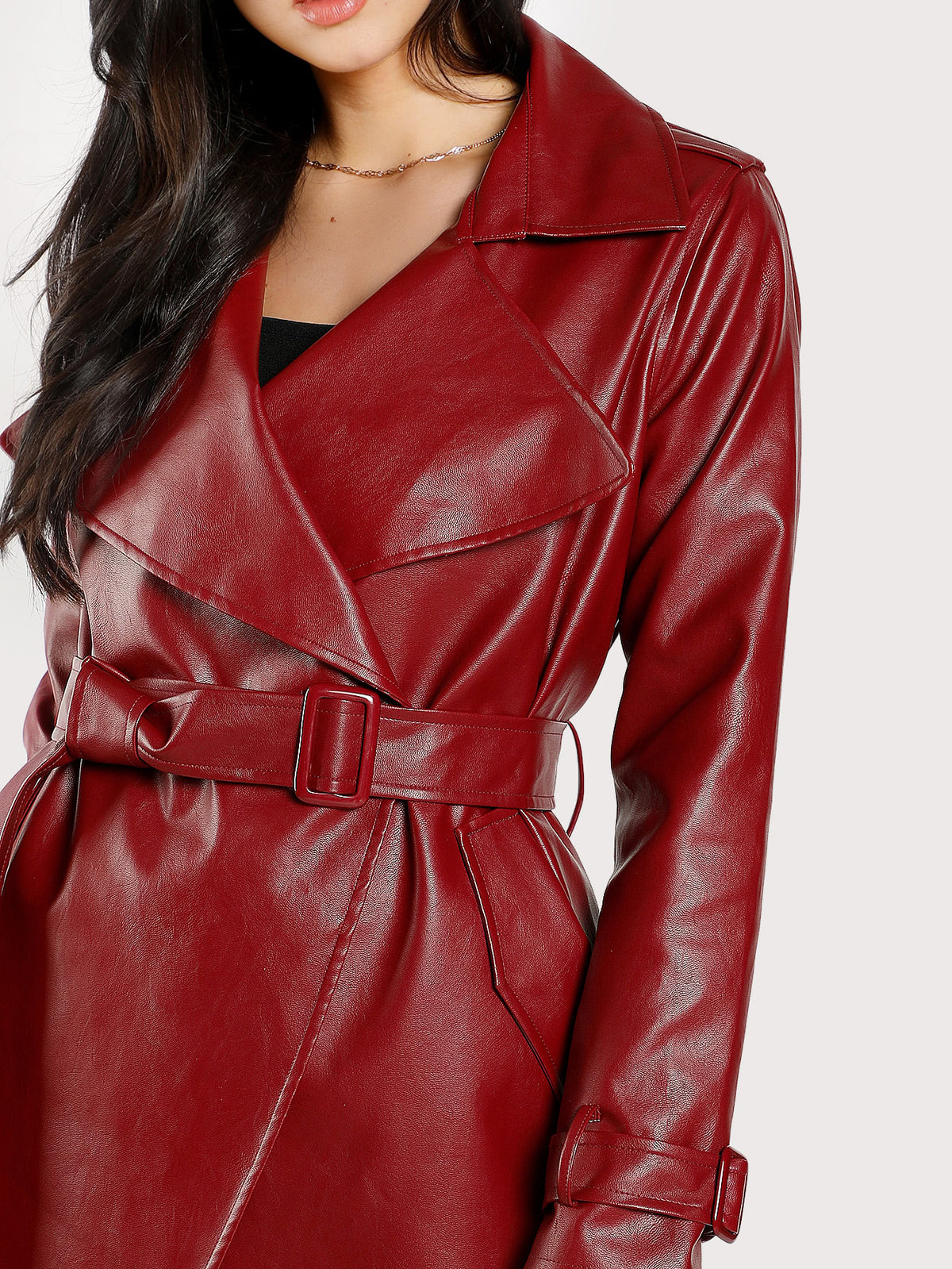 Drape Collar Rain Shield Wrap Coat