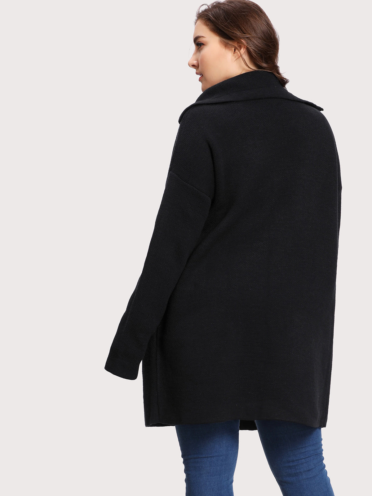 Notch Collar Drop Shoulder Jumper