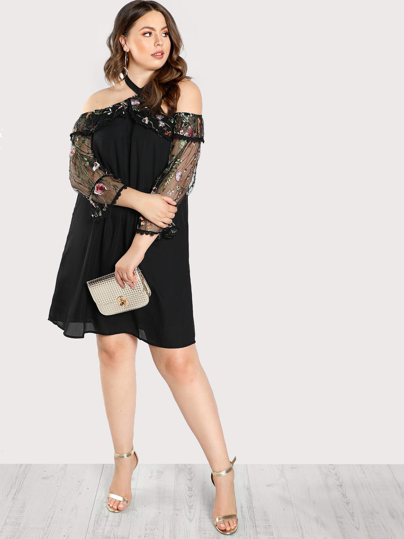 Cold Shoulder Floral Embroidered Dress