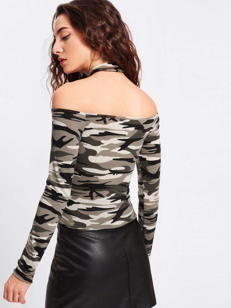 Camo Print Bardot T-shirt With Choker
