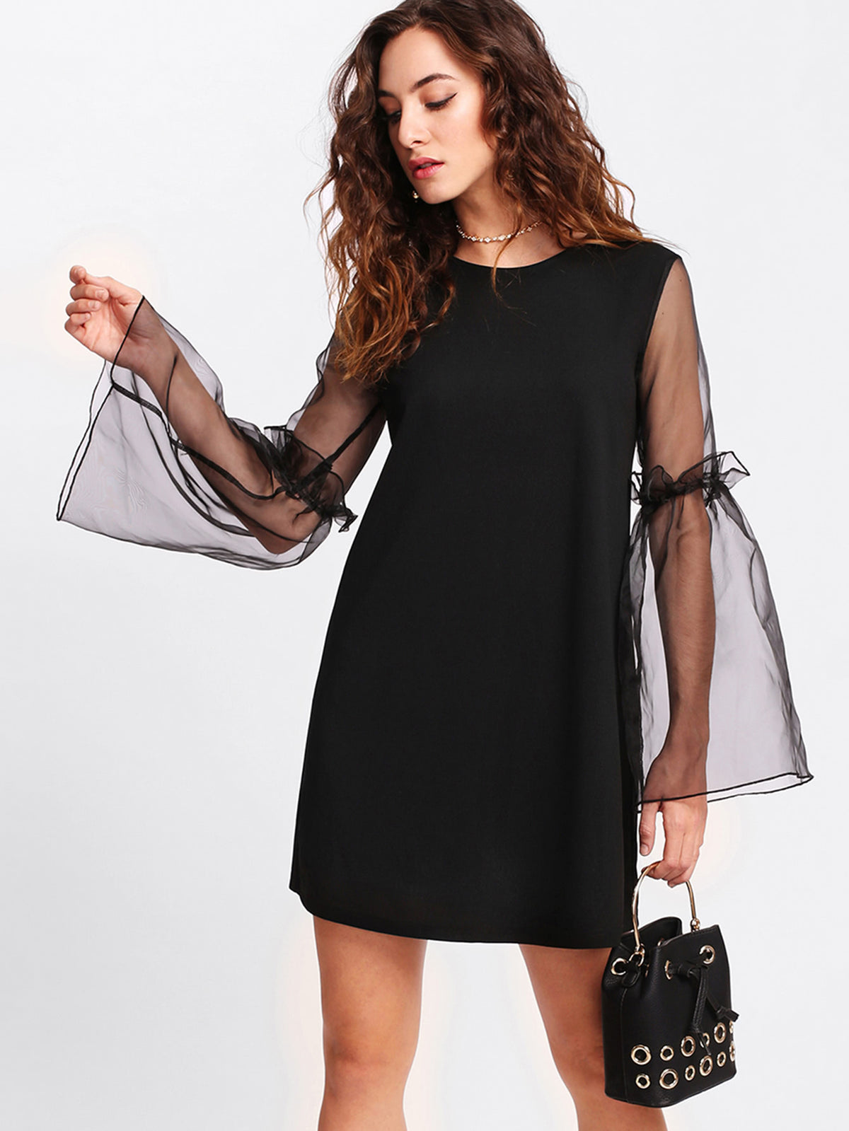 Contrast Mesh Sleeve Frilled Detail Dress