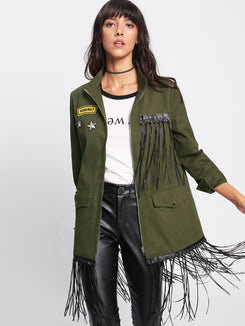 Grommet Fringe Patched Embroidery Detail Utility Jacket
