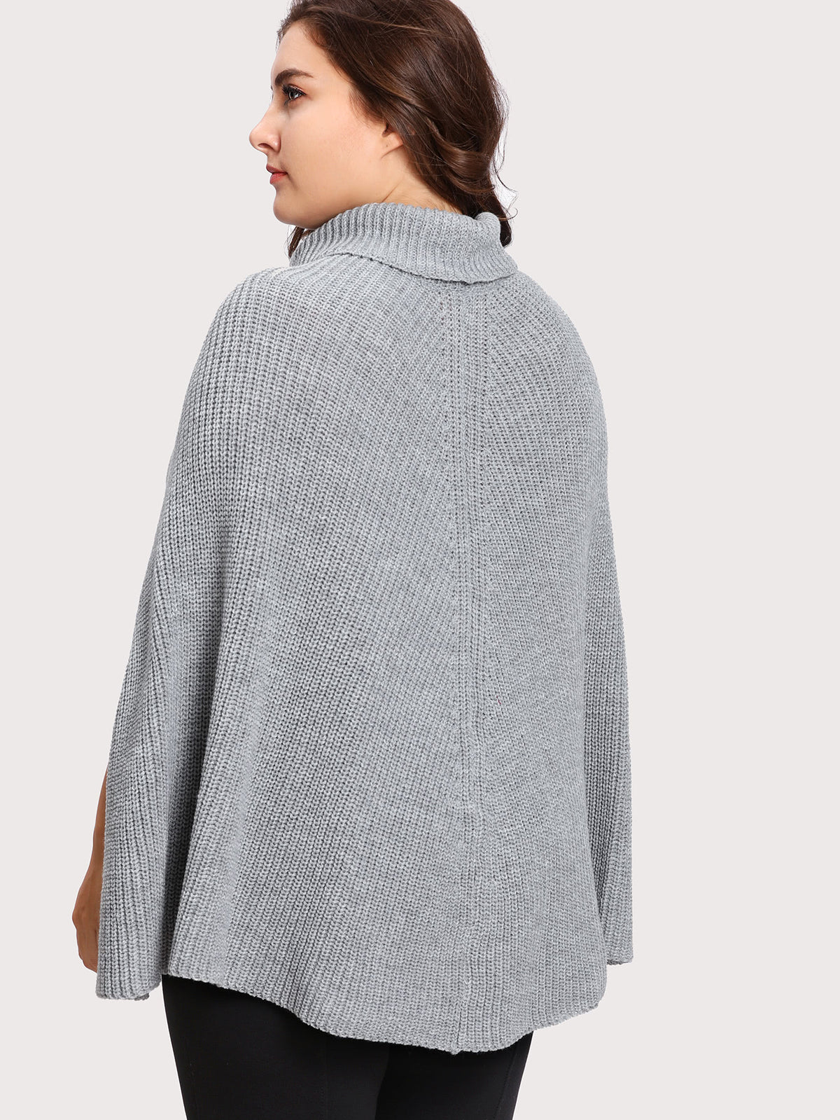 Rolled Neck Cape Sleeve Jumper