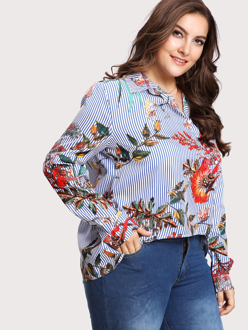 Asymmetric Buttoned Placket Mixed Print Blouse