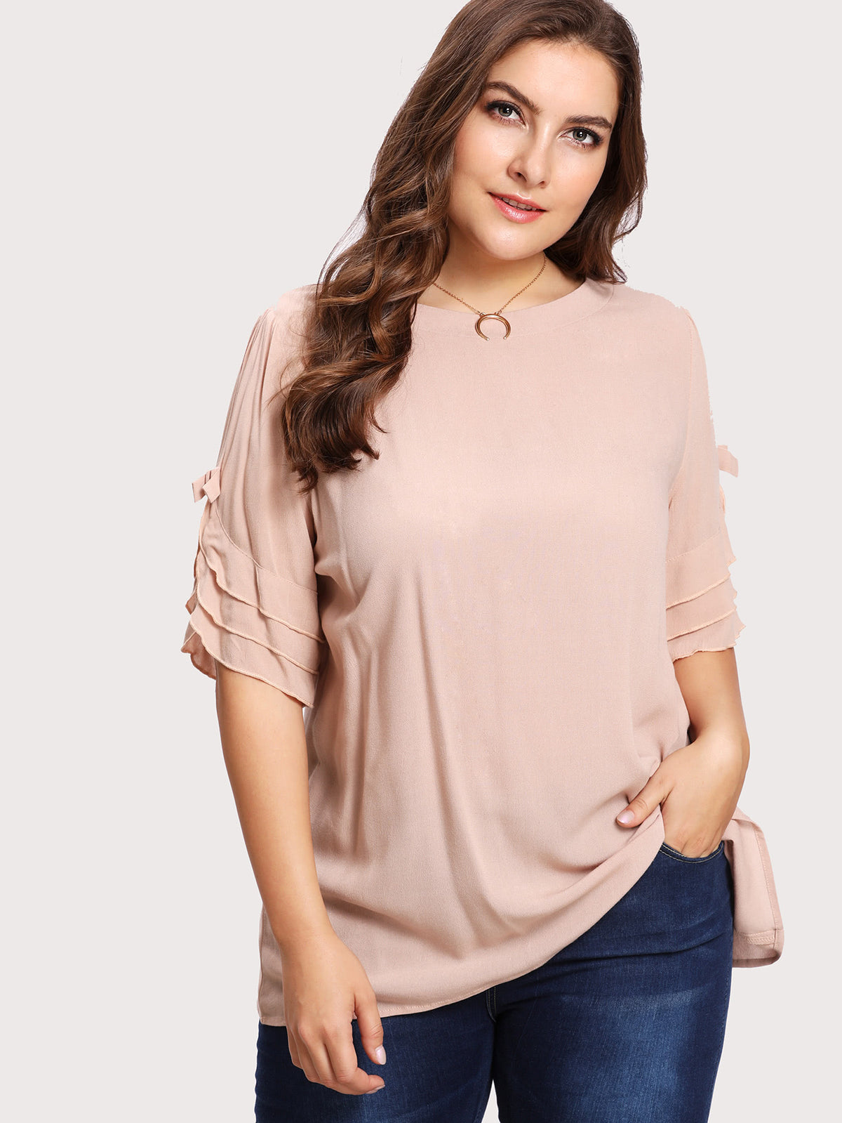 Bow Detail Tiered Frill Sleeve Top