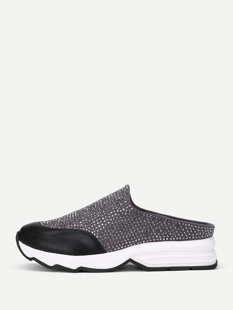 Studded Detail PU Slip On Shoes