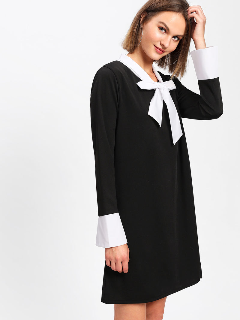 Contrast Self Tie Neck Shift Dress