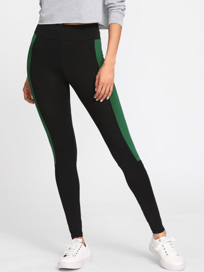 Contrast Panel Mesh Leggings