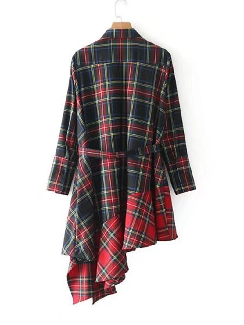 Asymmetrical Ruffle Hem Plaid Dress With Belt