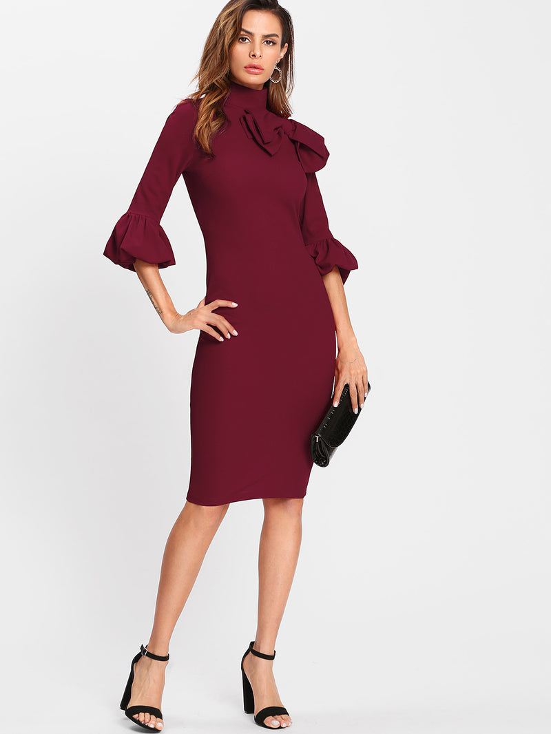 Exaggerate Bow Detail Trumpet Sleeve Dress