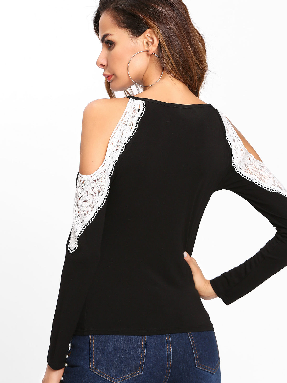 Lace Applique Open Shoulder Tee