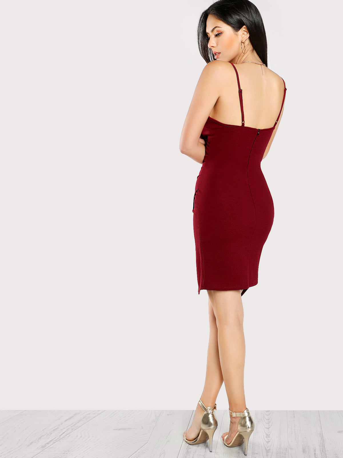 Ruched Overlap Form Fitting Cami Dress