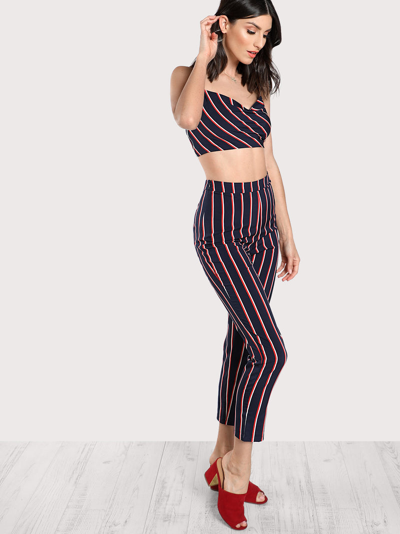 Striped Bustier Cami Top & Pants Co-Ord