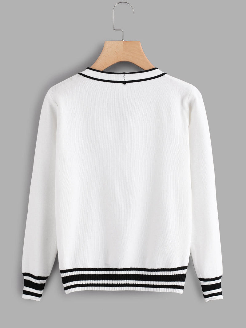Contrast Stripe Trim Bow Tie Neck Jumper